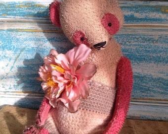 St. Valentine Day SALE 11 inch Artist Handmade Vintage Looking Well Aged Mohair Pink Teddy Panda Chuntao by Sasha Pokrass