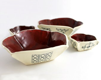 Red and White Folded Pottery Nesting Bowls - Set of Four