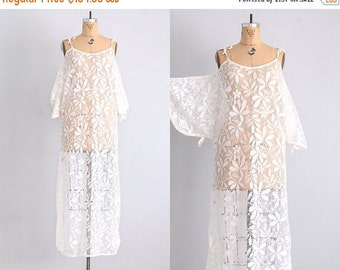 50% OFF SALE morning after • 1970s lace dress • lace nightgown • coverup