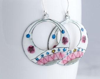 Pink and Gray Zig Zag Star Enamel Hoop Earrings - OOAK