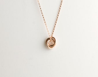 Mini Love Knot Pendant Necklace in 14k Rose Gold Filled - Chainmaille Vortex Swirl Eternity