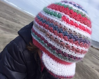 Striped Slouchy Beanie with Brim