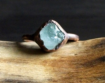 Aquamarine Raw Crystal Small Stone Ring Midwest Alchemy Size 8 Natural Jewelry Copper Aquamarine March Birthstone
