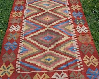 "SALE: Wide Natural Chobi Kilim  Runner  6 ft 8 x 3 ft 3"" 208 cm x 101 cm. Hand woven."