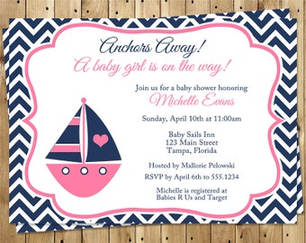 Nautical, Baby Shower Invitations, Girls, Boat, Pink, Navy, Chevron, Stripes, Anchors Away, Ahoy, 10 Printed Cards, FREE Shipping, NCSNP