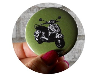 Motor Scooter Pinback Button OR Keychain Bottle Opener, World Travel, Avocado Green, Hand Pressed, Stocking Stuffer, Accessory flair badge