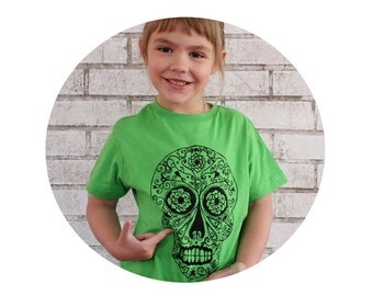 Day of the Dead Sugar Skull Children's TShirt, Calavera, Short Sleeved Youth Cotton Crewneck, Neon Lime, Bright Apple Green, Hand Printed