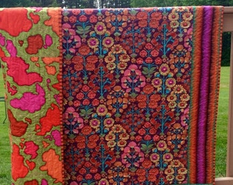 FALL SALE thru Oct 11th Hand quilted Lap quilt, throw quilt with Kaffe Fassett fabric, Flying Carpet quilt, bohemian decor, modern quilt