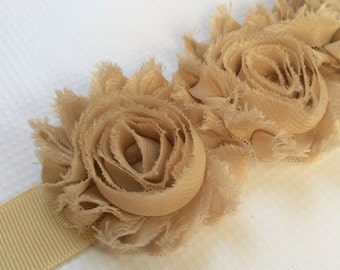 Flower Belt - Flower Sash - Bridal Belt - Flower Bridal Sash - Camel Bridal Sash - Antique Wedding Sash - Beige Wedding Sash - Tan Sash