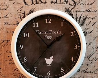 Farmhouse Custom Clock Farm Fresh Eggs