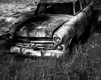 Black and White Car Photography - Classic Car Print - Rustic Wall Art - Old Car Auto Art - Man Cave Art - Vintage Car Art - Rustic Car Art