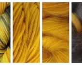 Hand Dyed Samples of Merino Wool DK Sport Weight Yarn in Dandelion Daddy Variegated Yarn Yellow Green