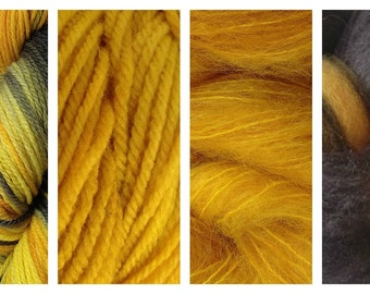 Hand Dyed Samples of Merino Wool DK Sport Weight Yarn in Dandelion Daddy Variegated Yarn Yellow Green