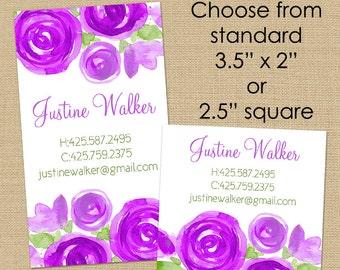 Purple Peonies - 50 Custom Business or Calling Cards