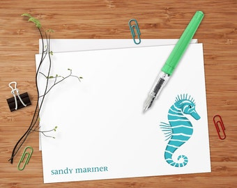 Seahorse - Set of 8 CUSTOM Personalized Flat Note Cards/ Stationery