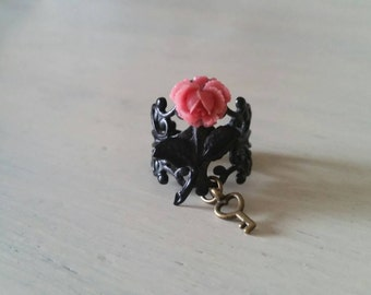 Secret Garden Pink & Black Mini Cabbage Rose Filigree Ring with Skeleton Key Charm