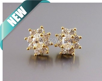 2 pcs oval flower Cubic Zirconia / CZ crystal earring findings, bridal earrings / bridesmaids earrings 2060-BG
