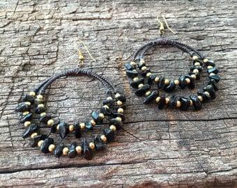 Black Stones Brass Earrings