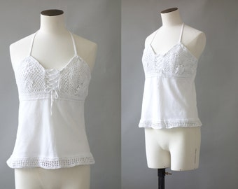 Crochet top | White crochet and cotton open back blouse | 1990's by cubevintage | extrasmall to small