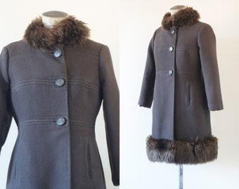 Brown chocolate princess coat | Faux fur trim coat | 1960's by Cubevintage | Medium