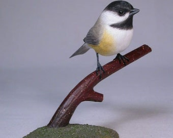 Black-capped Chickadee Wooden carved Bird