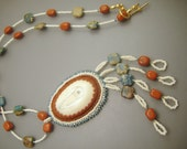 Reserved for buyer lwishinsky - Ain' True Love - Alaska Native scrimshaw ivory beaded necklace