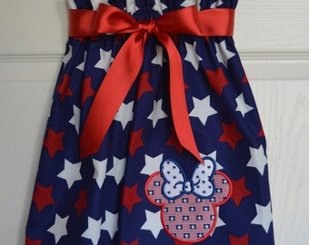 Minnie America Red, White, and Blue strapped dress (extra for personalization)
