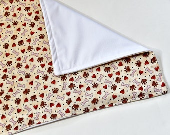 Waterproof Dog Crate or Food Mat, Pet Gift, Puppy Pad, Feeding, Red with Puppy Bones Fabric, Dog Gift
