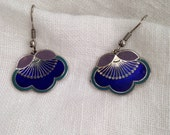 Laurel Burch Blue Enamel Cloisonne Flower Earrings