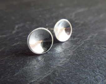 Sterling silver stud earrings, concave silver bowl earrings, silver studs, post earrings, minimalist jewelry, silver discs, shiny finish