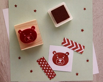 Bear Rubber Stamp - Cute Teddy Bear Hand Carved Rubber Stamp - New Baby Stamp - Cuddly Toy - Birth Anouncement - New Baby Card