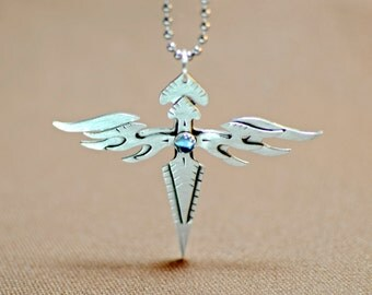 Sterling silver winged cross with blue topaz - solid 925 NL035
