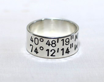 Sterling silver latitude longitude ring hand stamped with your personalized coordinates and custom engraving - Solid 925 RG100