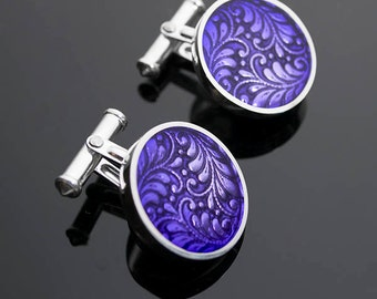 Ivy Woodrose PMC, sterling and resin cuff links