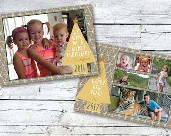 Christmas Photo Card Design - DIY Printable PDF or JPG File - Comes Ready to Print