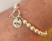 "Hand-Stamped ""Mrs."" Pearl Bracelet, Wedding Jewelry, Bridal Gift, Bride Jewelry, Custom Bridesmaid Jewelry, Hand-Stamped Gift, Bride"