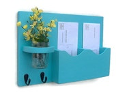 Mail Key Holder - Mail Organizer - Mail Holder - Double Slots - Key Hooks - Jar Vase - Organizer - Painted Distressed Wood