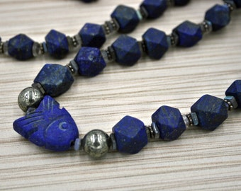 Dark Blue Lapis Lazuli, Labradorite, and Pyrite Necklace