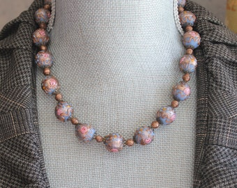 Vintage 1920s Venetian Glass Blue, Pink and Copper Wedding Cake Beaded Necklace