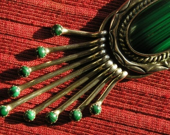 Large Navajo Stamped Sterling Silver Malachite Pendant Necklace