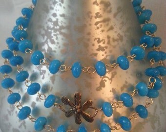 Beautiful Blue Natural Stone Solid Bronze Floral Necklace