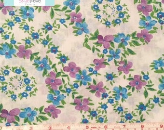 LAST YARD, Vintage Purple and Blue Floral Fabric, 1 yard