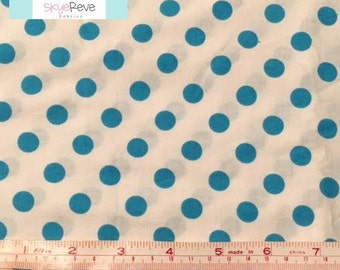 Aqua and White Polka Dot Fabric, 1 yard