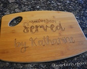 You've Been Served By {Your Name} Attorney or Lawyer Gift. Custom Engraved Bamboo Cutting Board 15x11 inches OR 12x9 inches