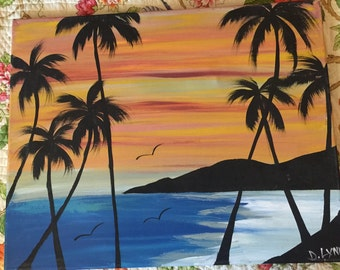 Hawaii Painting On Canvas Vintage Palm Trees and Sunset Ocean Mountains By D. Lynn