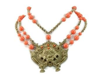 CIJ Christmas July SALE Unique Bold  Brass Fu Dog Dragon Coral Lucite Vintage Bib Swag Festoon Necklace