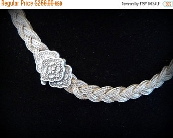 Spring Sale Beautiful Tribal Ethnographic Woven Sterling Silver Mesh Vintage Necklace