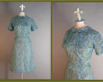 60s dress 1960s vintage COPPER BROWN and AQUA blue paisley print curvy day dress