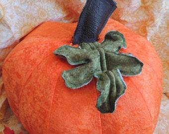 Bright Orange Plush Velour Pumpkin With Olive Green Velour Leaf and Dark Brown Alligator Print Vinyl Stem Extra Large
