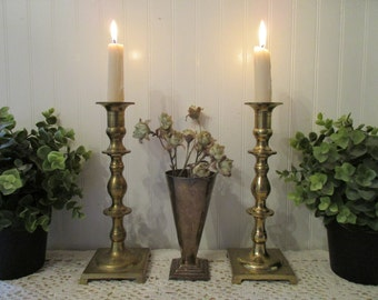 vintage Brass Candle Holders and Vase. Instant collection Boho lot. Eclectic, tarnished distressed lot. Shabby urban romantic cottage decor